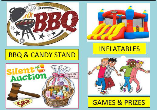 BBQ and Candy Stand, Inflatables, Games and Prizes