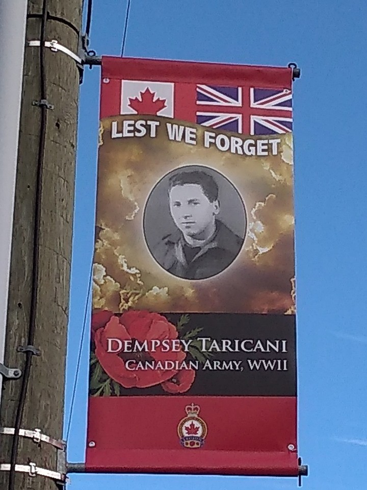 Royal Canadian Legion banner remembering Dempsey Taricani