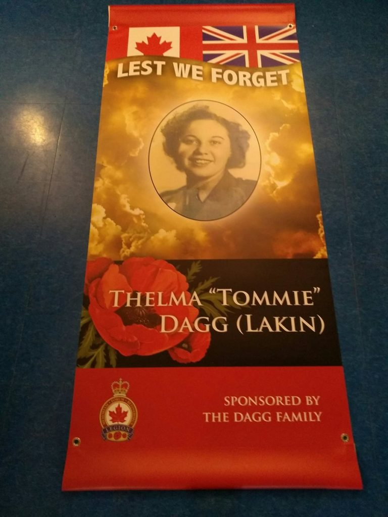 "Royal Canadian Legion banner remembering Thelma ""Tommie"" Dagg (Lakin)"